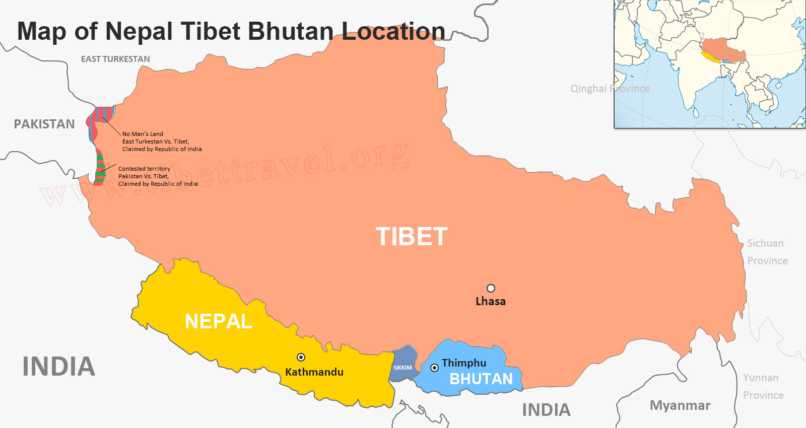 File:Map of Himalayan States of Bhutan, Nepal, Sikkim and