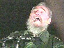 Fidel imitando la risa de Sátan Claus.