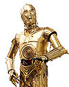 C-3PO, a character from the Star Wars universe, is seen here with his usual delusions of grandeur.