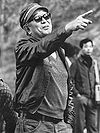 Akira Kurosawa on the set of the tragically boring film Ran (1985).