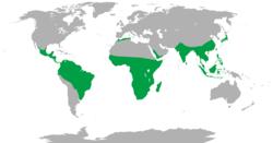 Distribución dos primates (non humanos) en verde