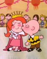 Charles M. Schulz beijando a rainha do baile