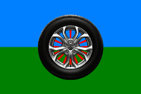 Flag of Roma People (with a wheel).png