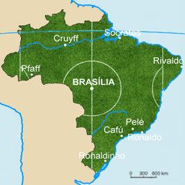 Brazilië te midden van zijn buurlanden
