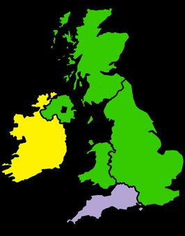 Kaart van Britse eilandenVK in het groen