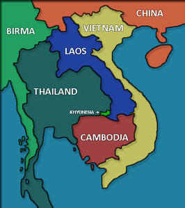 De ligging van Khyonesia in Indochina