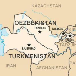 Ligging van Oezbekistan