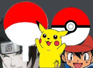 Obviamente o símbolo Uchiha foi baseado nas Pokebolas dos Pokemongos