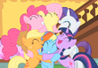 Group hug Pinkie Pie Fluttershy Rarity Applejack Rainbow Dash Twilight Sparkle S1E23.png