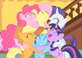 Group hug Pinkie Pie Fluttershy Rarity Applejack Rainbow Dash Twilight Sparkle S1E23.png