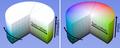 HSL HSV cylinder color solid comparison.png