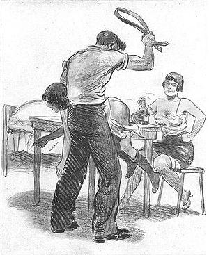 Boy spank illustration