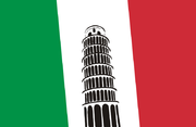 Flag of Italy with the Tower of Pisa.png